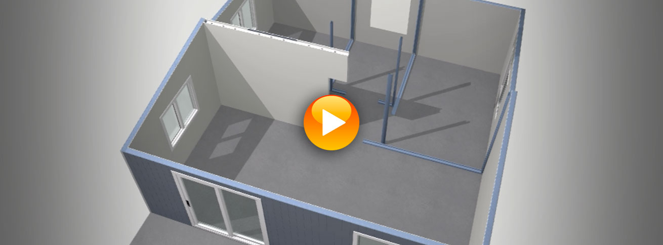 Top view image of a Quick Built home internal plan with a video link