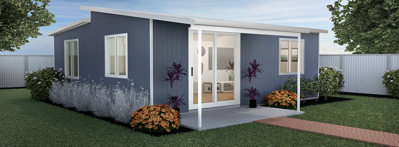 Granny flat modular flat pack kit home situated in backyard