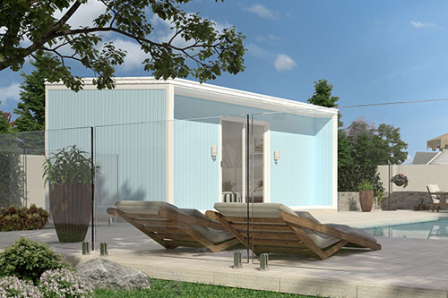 At QUICKBUILT home systems we listen to our clients needs, so we have designed a few kit homes to suit a broad range of people's requirements. If you are looking for that extra bit of space, then THE CABANA outdoor room could be your answer. It could be used for guest accommodation, an artists studio, a teenagers retreat, a home office or gym.