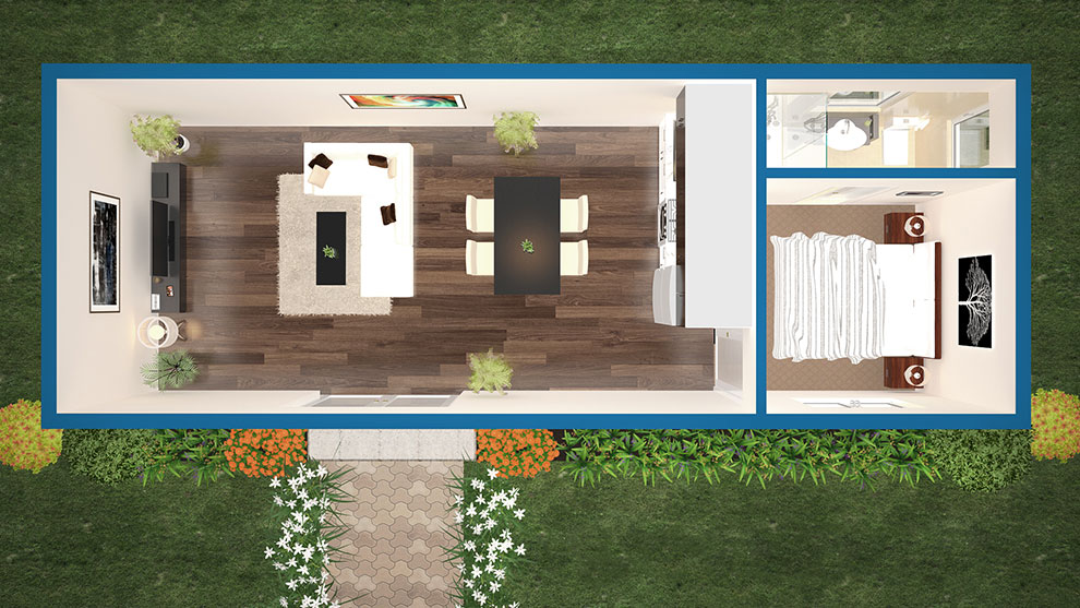 THE DAINTREE flat pack DIY modular panel kit home by Sydney based Quickbuilt systems is a self contained small home with a living area, kitchen and a separate en-suite bedroom.