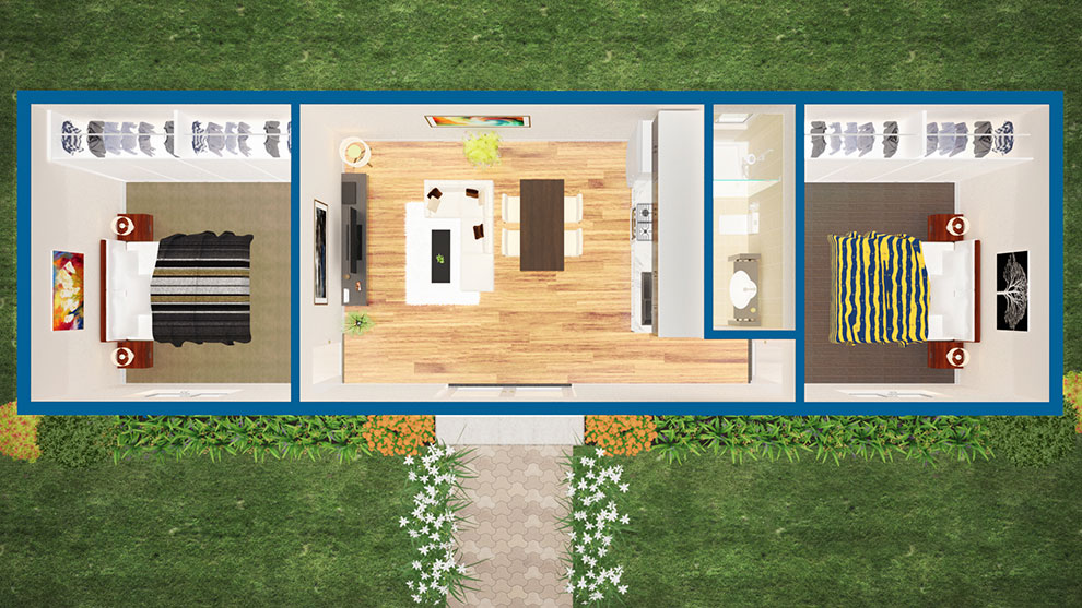 The Kakadu by Quickbuilt Homes Systems is a quality, affordable modular panel DIY kit home featuring 2 bedrooms and will not only bring you a great income, but will also substantially increase the value of your existing home.