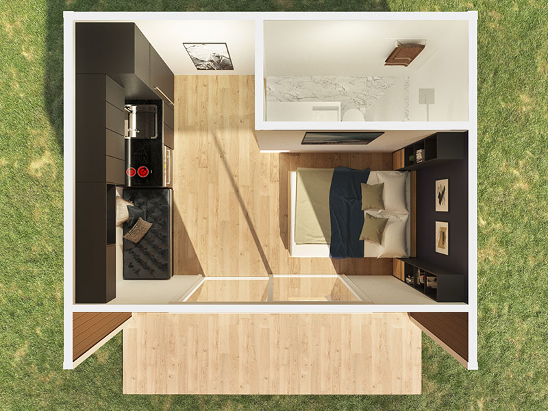 THE FLINDERS flat pack DIY modular panel kit home by Sydney based Quickbuilt systems could be used for guest accommodation, an artists studio, a teenagers retreat, a home office, gym or for that extra bit of space.